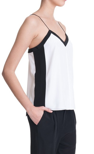 Item - White and Black Silk Color Tank Top/Cami Size 10 (M)