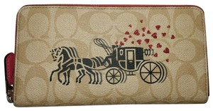Coach New Coach 91571 Accordion zip wallet with Horse & Carriage Light Khaki