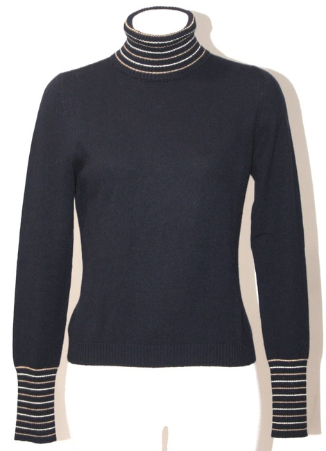 Item - Cashmere Ribbed Neck Size Small Navy Blue Sweater