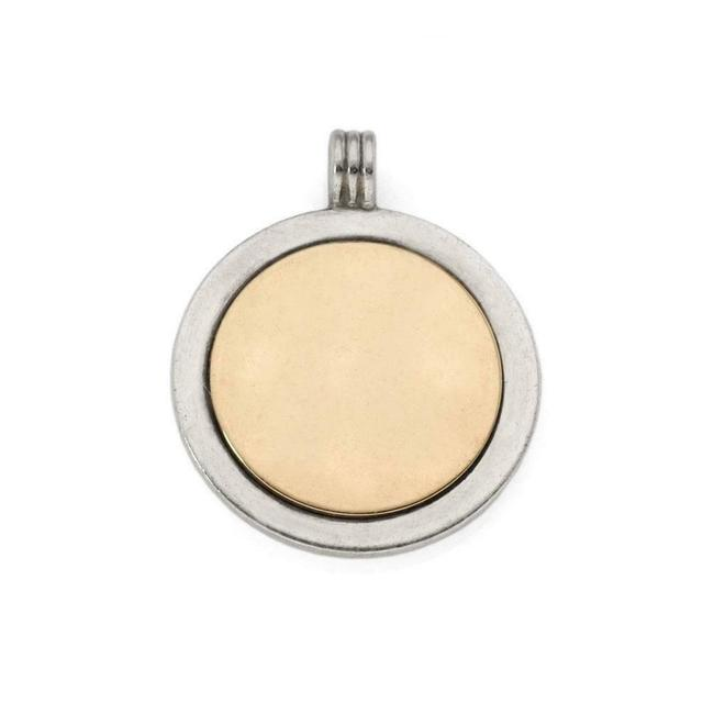Tiffany & Co. #65068 Vintage Sterling Silver 18k Yellow Gold Round Pendant Charm Tiffany & Co. #65068 Vintage Sterling Silver 18k Yellow Gold Round Pendant Charm Image 1