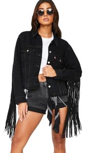 Levi's Boho Western Country Rocker Festival Black Womens Jean Jacket