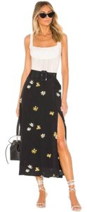 Capulet Floral Daisy Patterned Slit Skirt Black