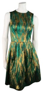 Michael Kors Metallic Retro 1960s Foil Emerald Dress