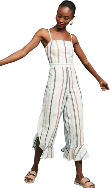 Item - New White Red Carter Everly Vertical Striped Cropped Wide Leg Romper/Jumpsuit