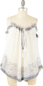 TRYB212 Embroidered Drawstring Oversized Sheer Top Ivory