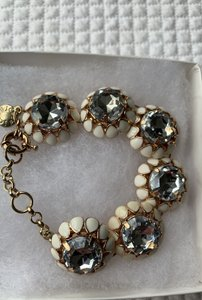 J.Crew White and Gold Fun Flowery Bracelet