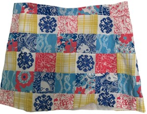 Lilly Pulitzer Embroidered Patchwork Mini Skirt blue multi