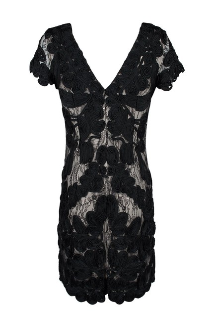 JS Collections Black White Embroidered Short Cocktail Dress Size 6 (S) JS Collections Black White Embroidered Short Cocktail Dress Size 6 (S) Image 3