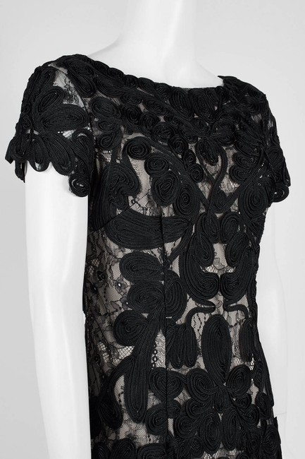 JS Collections Black White Embroidered Short Cocktail Dress Size 6 (S) JS Collections Black White Embroidered Short Cocktail Dress Size 6 (S) Image 4
