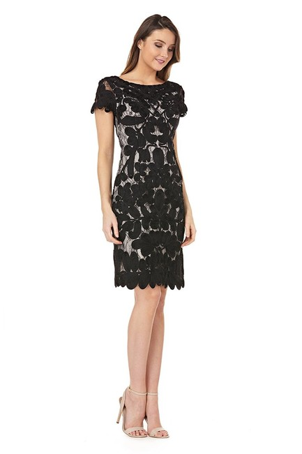 JS Collections Black White Embroidered Short Cocktail Dress Size 8 (M) JS Collections Black White Embroidered Short Cocktail Dress Size 8 (M) Image 1