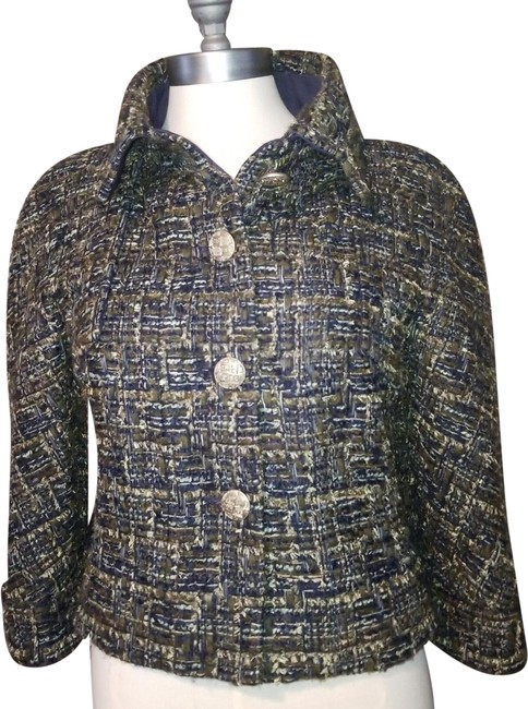 Item - Navy Fantasy Tweed 3/4 Bracelet Sleeves 18b Lesage Runway Look Jacket Size 10 (M)