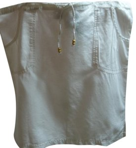 Columbia Sportswear Company Drawstring Waist Linen/cotton Blend Pin Tuck Pockets Medium Skirt White