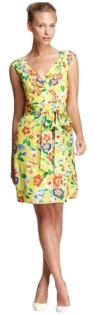 Preload https://img-static.tradesy.com/item/27363423/kate-spade-yellow-cathleen-silk-floral-wrap-mid-length-cocktail-dress-size-4-s-0-1-650-650.jpg
