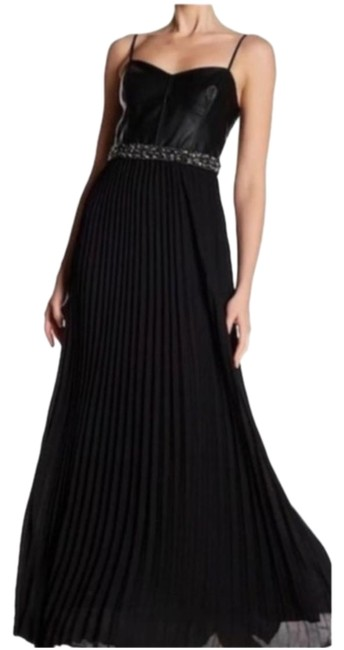 Item - Black Silver Nwot Gown In Faux-leather Long Formal Dress Size 2 (XS)