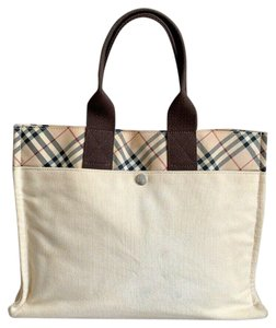 Burberry Blue Label London Canvas Tote in Cream