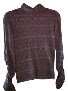 Free People Lace Ruched Sleeve Shimmer Turtleneck Top Black