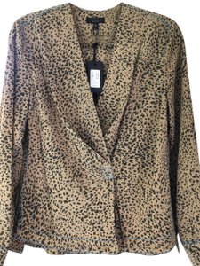 Rag & Bone Olive Silk Animal Multi Colored Top Leopard Print