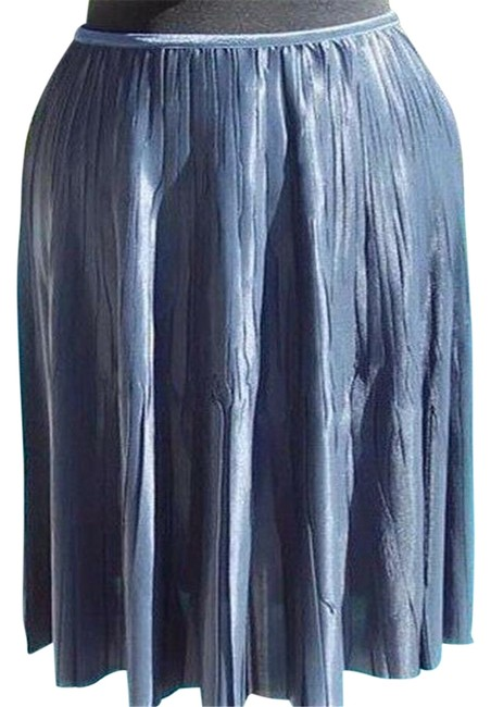Item - Silver Gray Metallic L Luxe Pleated Stretch Soft 10/12/14 Elastic Waist Skirt Size 12 (L, 32, 33)
