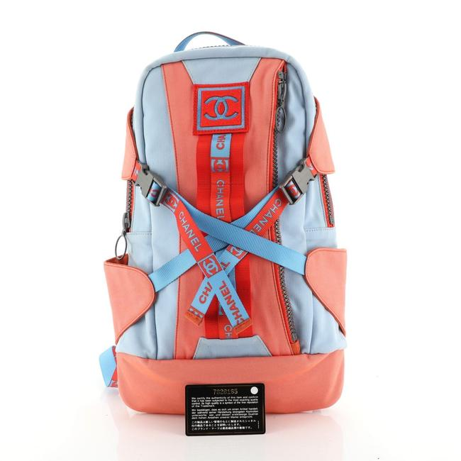 Item - Sport Line Canvas Baby Blue and Fire Orange Backpack
