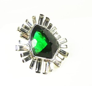 Alexis Bittar ALEXIS BITTAR Rhodium Plated Green and Clear Crystals Statement Ring