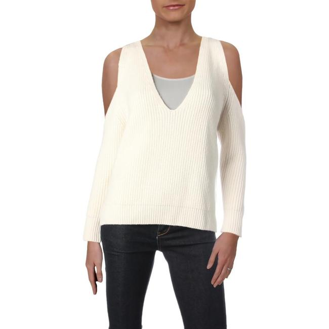 Item - Michelle Wool Blend Ribbed Knit Ivory Sweater