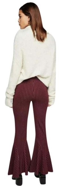 Free People Red Mari Striped Bell Pants Size 6 (S, 28) Free People Red Mari Striped Bell Pants Size 6 (S, 28) Image 1