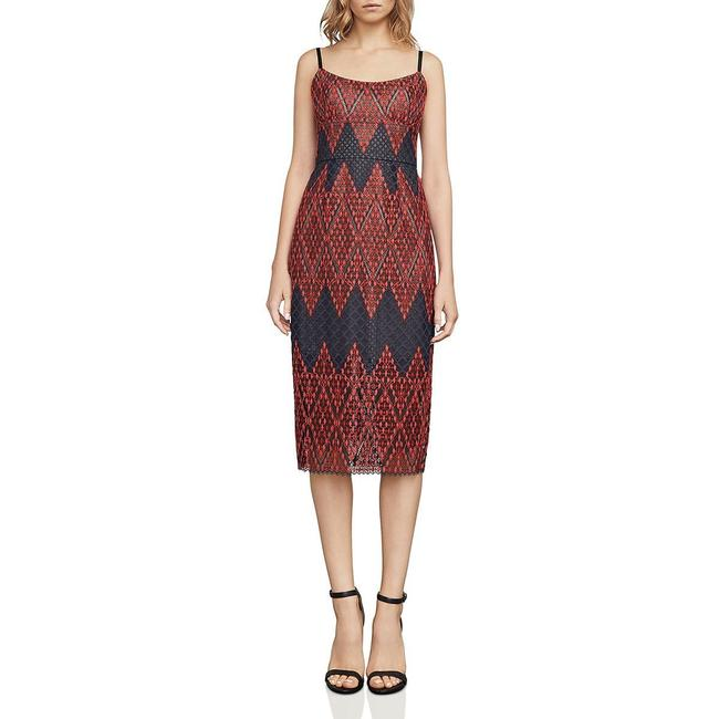Item - Red Bcbg Max Azria Alese Scoop Neck Lace Overlay Mid-length Cocktail Dress Size 0 (XS)