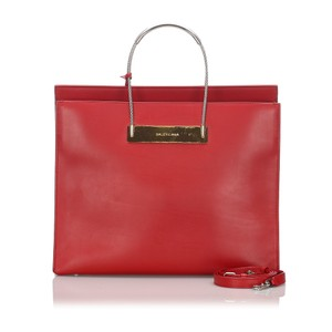 Balenciaga 0cbgst001 Vintage Leather Tote in Red