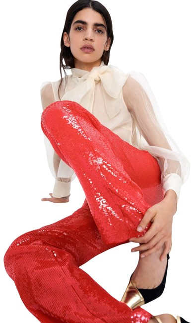 Item - Red XS W Sequin Trousers W/ Front Pockets Nwt. Pants Size 2 (XS, 26)