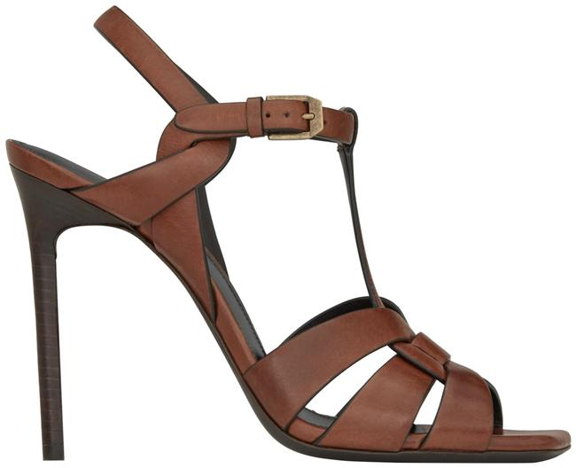 Item - Brown Tribute Ysl Toffee Leather Flat Strap Square Toe Sandal Heel Pumps Size EU 39.5 (Approx. US 9.5) Regular (M, B)