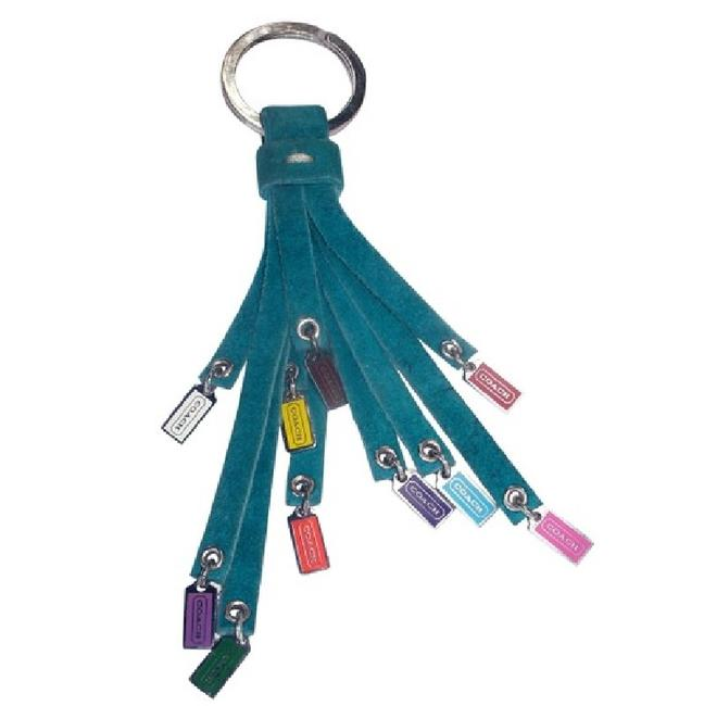 Item - Teal/Multicolor/Sv Extremely Rare Vintage Suede Leather Tassel Mini Charms Fob Keyc