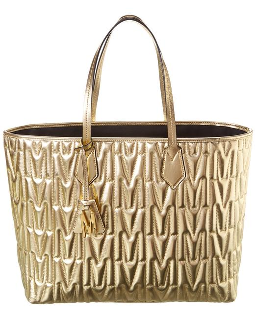 Item - Quilted Metallic Leather Yellow Tote