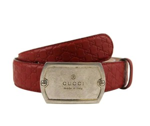Gucci Red Men's Microguccissima Leather Dog Tag Buckle Belt 322293 6420 Groomsman Gift