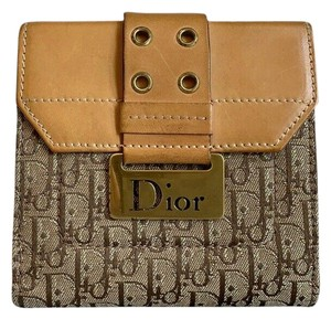 Dior Christian Dior Trotter Brown Monogram Canvas Leather Bifold Wallet
