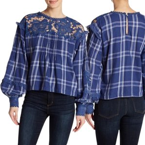 Free People Embroidered Lace Plaid Top Blue White