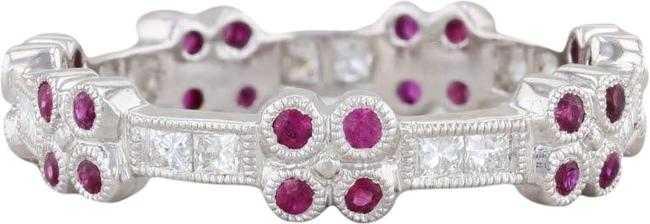 Item - White Gold 0.62ctw Ruby Diamond Stackable 18k 6.5 Ring