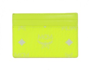 MCM NEW MCM Visetos Coated Canvas Mini Card Case Wallet, Neon Yellow