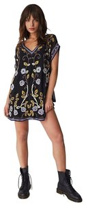 Free People short dress New Black V-neck Beaded Embellished Embroidered Lined on Tradesy