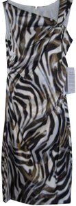 Maggy London Asymmetrical Neckline Satin Stretch Animal Above Knee Ruching Dress