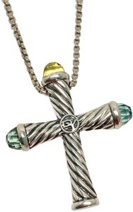 David Yurman Gemstone Cross Pendant Necklace Blue Topaz Lemon Citrine .925