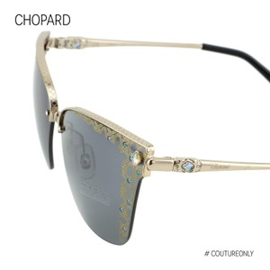 Chopard New Gold Imperiale Sch C19s Crystals Grey Semi-rimless Square Cat Eye