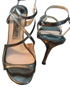 Jimmy Choo Silver Gold Metallic Sandals