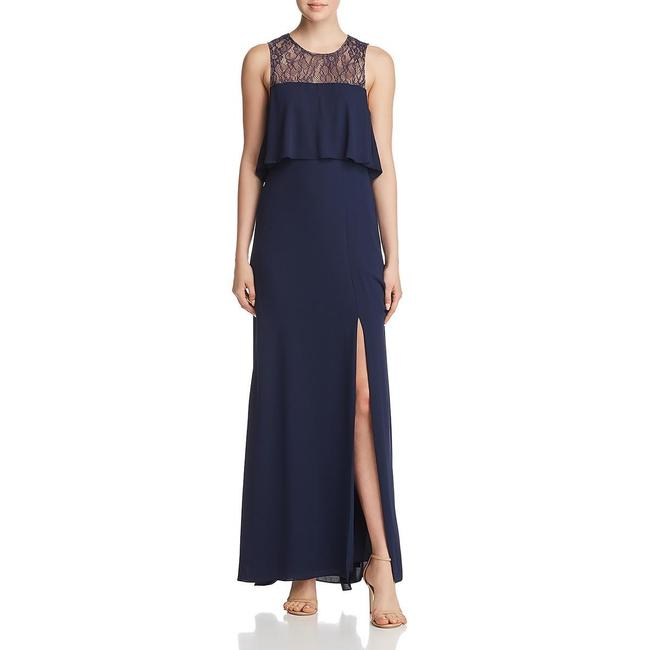 Item - Navy Bcbg Max Azria Lace Tiered Sleeveless Gown Long Formal Dress Size 6 (S)