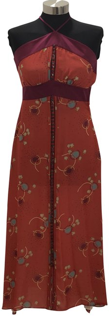 Item - Red Multi Color Floral Print Silk Style#w16408 Long Casual Maxi Dress Size 6 (S)