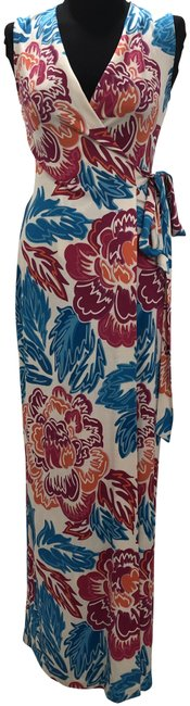 Item - Multi Color Furstenberg/Dvf Floral Print Wrap New Yahzi Two Long Casual Maxi Dress Size 2 (XS)