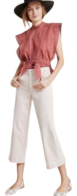 Item - Pink and White Nellie High-rise Culotte Trouser/Wide Leg Jeans Size 32 (8, M)