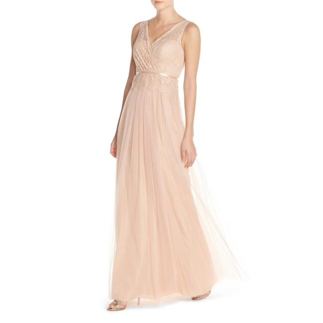 Item - Blush Sutton Double V-neck Lace&tulle Bridesmaids Gown Long Night Out Dress Size 0 (XS)