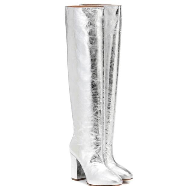 Dries van Noten Silver Cracked Leather Boots/Booties Size US 7.5 Regular (M, B) Dries van Noten Silver Cracked Leather Boots/Booties Size US 7.5 Regular (M, B) Image 1