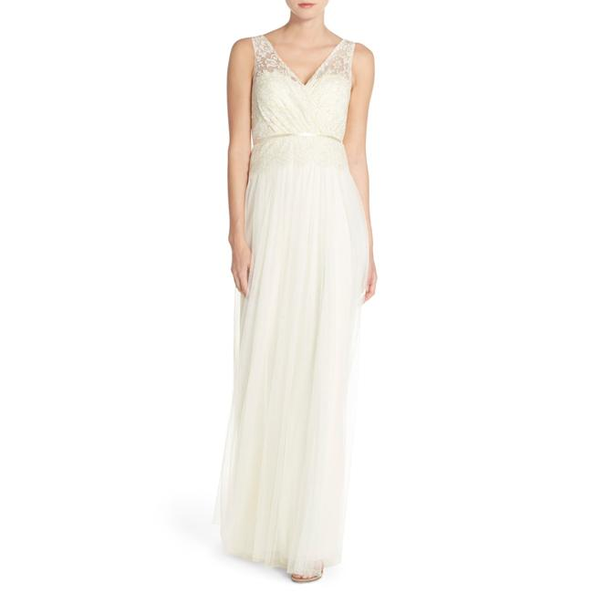 Item - Cream Sutton Double V-neck Lace&tulle Bridesmaids Gown Long Night Out Dress Size 12 (L)