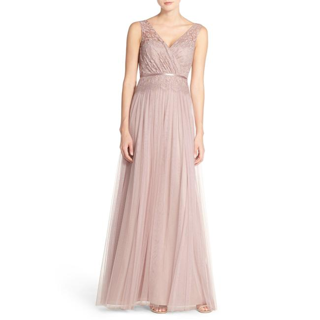 Item - Blush Pink Double V Sutton Double V-neck Lace&tulle Bridesmaids Gown Long Night Out Dress Size 12 (L)